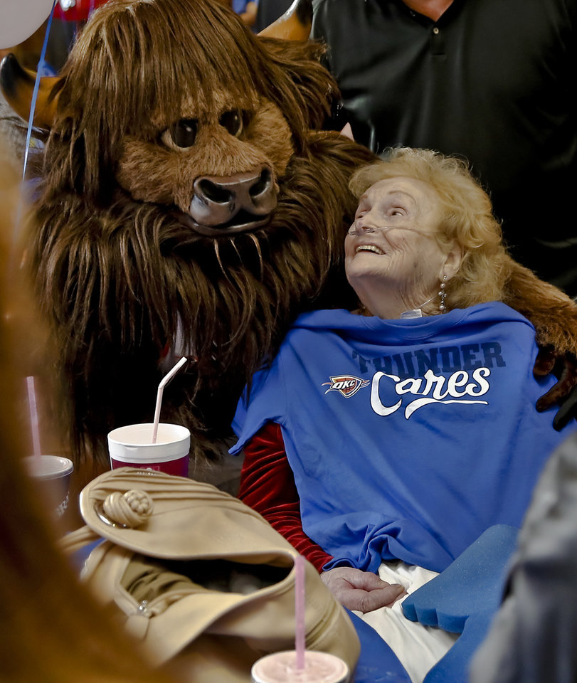 Rumble poses for a photo with Helen LaRue during the Oklahoma City Thunder's 1000th community appearance at Ranchwood Nursing Home on Tuesday, Nov. 27, 2012, in Yukon, Okla.   Photo by Chris Landsberger, The Oklahoman