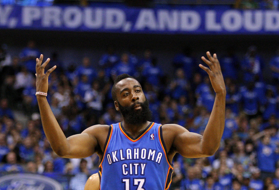 Oklahoma City\'s James Harden celebrates during Game 4 of the first round in the NBA playoffs between the Oklahoma City Thunder and the Dallas Mavericks at American Airlines Center in Dallas, Saturday, May 5, 2012. Oklahoma City won 103-97. Photo by Bryan Terry, The Oklahoman