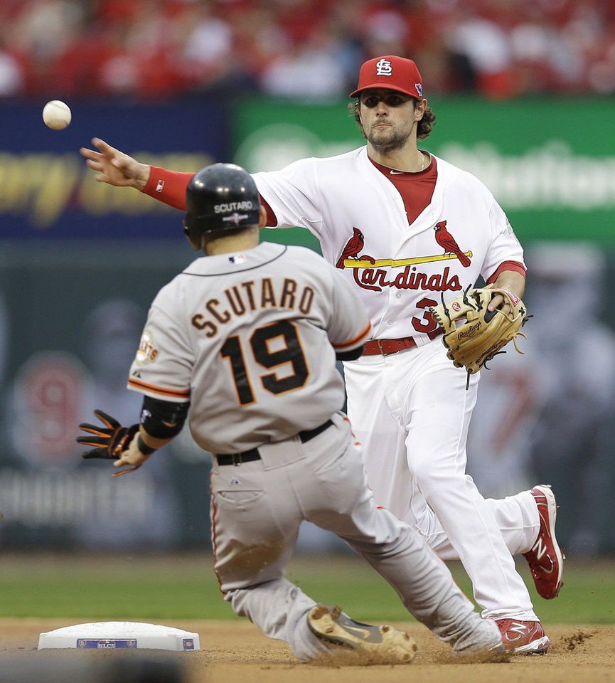 Photo -   CORRECTS INNING TO FIFTH, NOT FOURTH - St. Louis Cardinals shortstop Pete Kozma (38) throws to first for a double play, taking San Francisco Giants' Marco Scutaro (19) out at second and Pablo Sandoval (48) out at first, during the fifth inning of Game 3 of baseball's National League championship series Wednesday, Oct. 17, 2012, in St. Louis. (AP Photo/David J. Phillip)