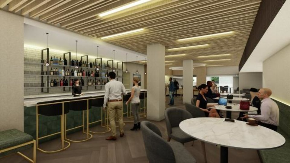 Photo -  The bar and lounge in the rebranded Radisson is shown in this rendering. [Provided]
