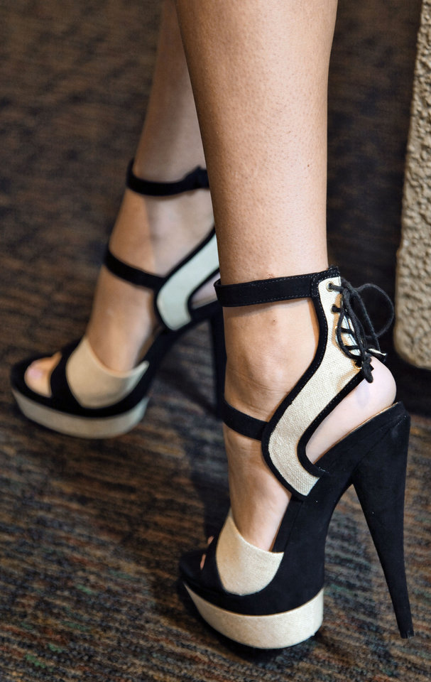 Photo - Rachel Zoe linen/suede platform heel with lace-up back from Balliets. Photo by Chris  Landsberger, The Oklahoman  CHRIS LANDSBERGER