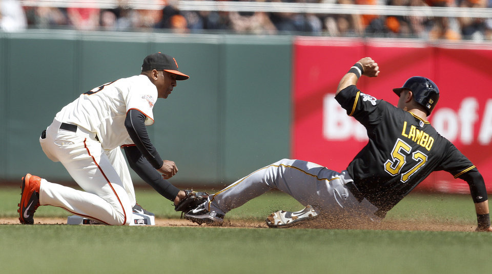 Photo - Pittsburgh Pirates' Andrew Lambo, right, is tagged out while trying to steal second base by San Francisco Giants second baseman Joaquin Arias in the fifth inning of a baseball game in San Francisco, Sunday, Aug. 25, 2013. (AP Photo/Tony Avelar)