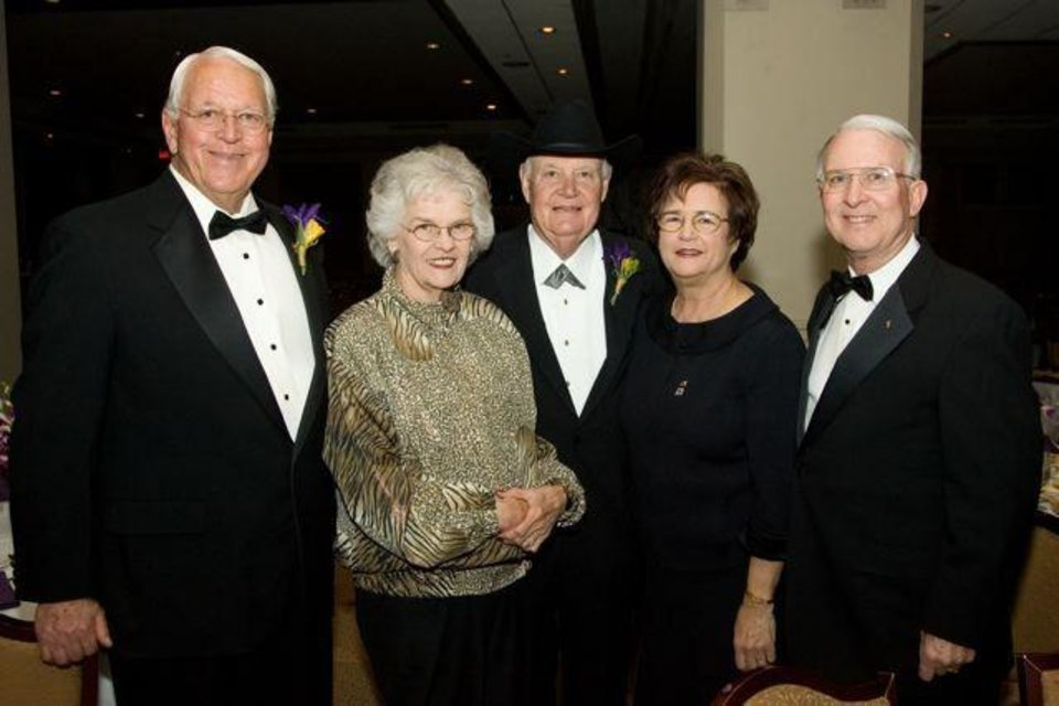 SAE'S CELEBRATE 100...George Arrington, Jane Arrington, Bill  Arrington, Nancy Ford and Bill Ford were at the Oklahoma City Golf &  Country Club for the special party honoring the Sigma ALpha Epsilon's   100th anniversary and founder' day.  This is the University of  Oklahoma chapter of SAE. ( Photo by Steve Maupin).