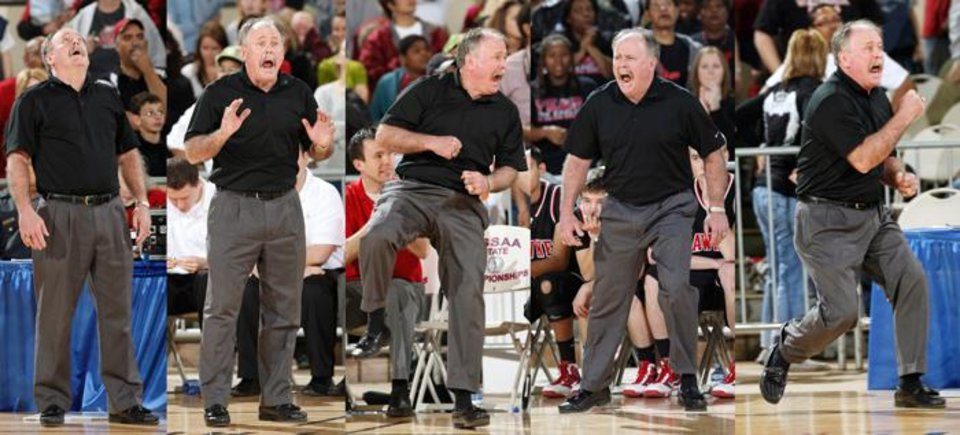 Photo -  REACTION: Pawnee's head coach David Page reacts to game action during his win over Watonga in the Class 2A boys high school basketball state tournament at the State Fair Arena in Oklahoma City, Oklahoma March 12 , 2010. Photo by Steve Gooch, The Oklahoman ORG XMIT: KOD