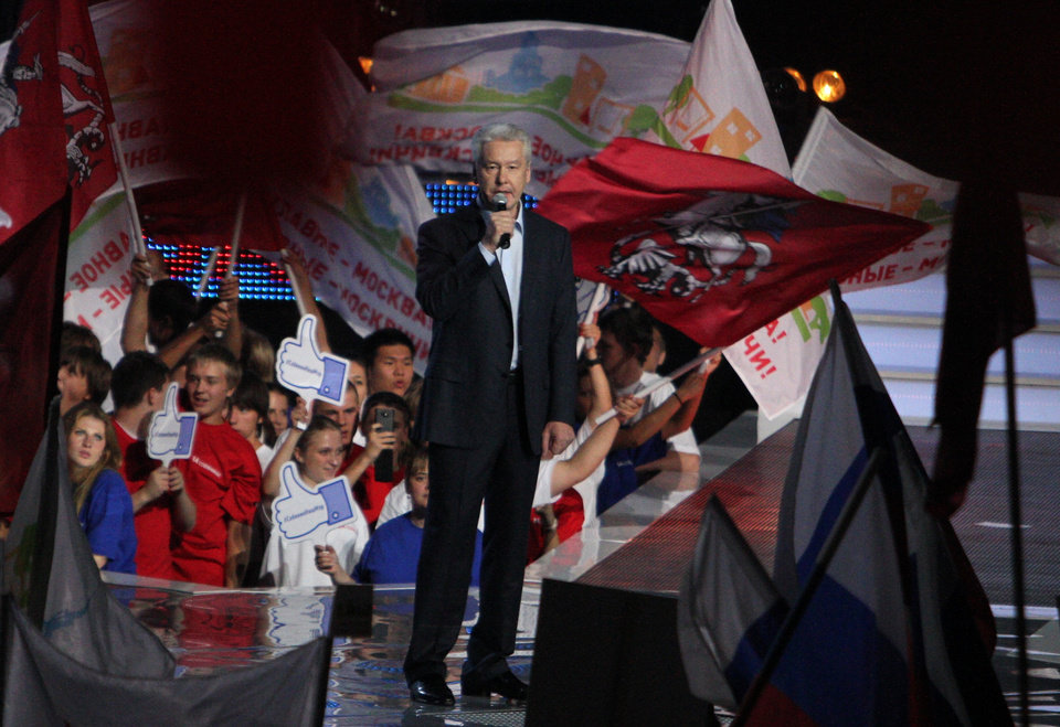 Photo - Moscow's incumbent mayor Sergei Sobyanin speaks to his supporters at a rally in Moscow, Friday, Sept. 6, 2013. Sobyanin, backed by President Vladimir Putin, will face Alexei Navalny, the anti-corruption blogger and a leader of the Russian protest movement in the upcoming Moscow's mayor election on Sept. 8. (AP Photo/Denis Tyrin)
