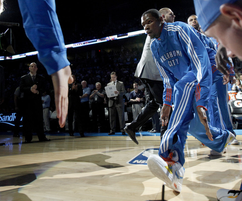 Photo - Oklahoma City's Kevin Durant is introduced before the NBA basketball game between the Oklahoma City Thunder and the Milwaukee Bucks at the Oklahoma City Arena, Wednesday, April 13, 2011. Photo by Bryan Terry, The Oklahoman