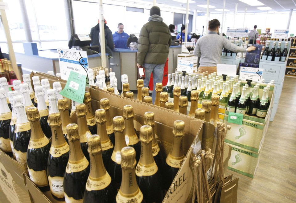 New Year�s Eve is Monday, and Byron�s Liquor Warehouse, 2322 N Broadway, expects to sell 3,000-4,000 bottles of Champagne and sparkling wine.Photos by PAUL HELLSTERN, The Oklahoman