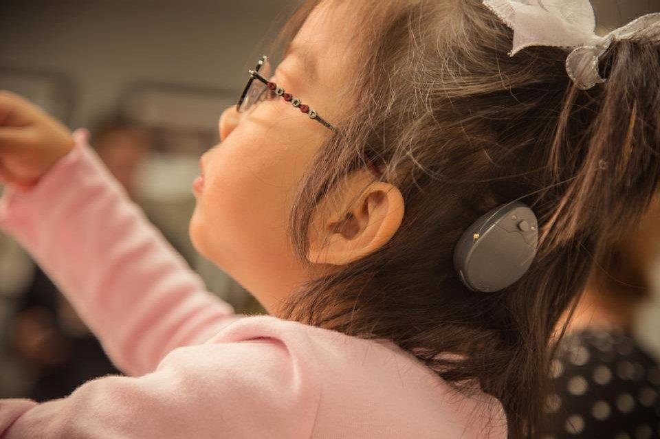 Jayde Scholl, 5, wears her new RONDO Cochlear implant technology. PHOTO PROVIDED BY JACQUELINE SCHOLL <strong></strong>