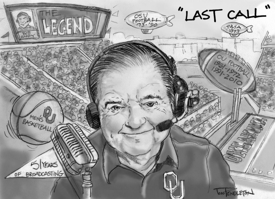 """LAST CALL"" GRAPHIC / CARTOON / ILLUSTRATION / DRAWING / BOB BARRY  / RADIO SPORTS ANNOUNCER / PLAY-BY-PLAY / RETIRE / RETIREMENT / UNIVERSITY OF OKLAHOMA / OU / OKLAHOMA STATE UNIVERSITY / OSU / COLLEGE FOOTBALL / COLLEGE BASKETBALL"