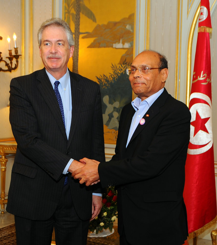 Tunisia's President Moncef Marzouki, right, shakes hands with William Burns, US Deputy Secretary of State, at the Carthage presidential palace, Tunis Thursday, Dec. 13, 2012. (AP Photo/Hassene Dridi)