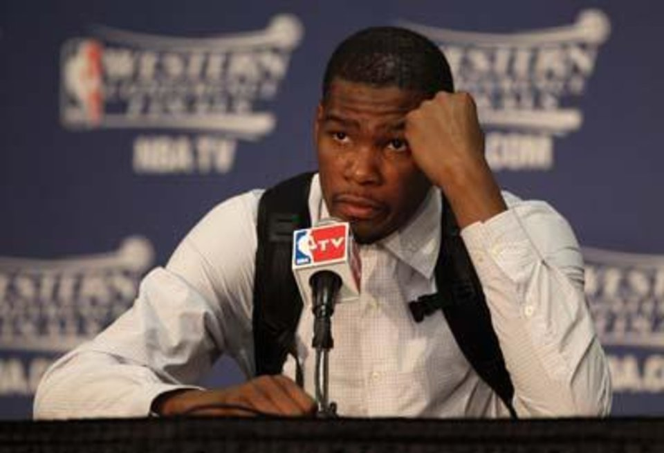 OKLAHOMA CITY, OK - MAY 23:  Kevin Durant #35 of the Oklahoma City Thunder addresses the media after the Dallas Mavericks defeated the Thunder 112-105 in overtime in Game Four of the Western Conference Finals during the 2011 NBA Playoffs at Oklahoma City Arena on May 23, 2011 in Oklahoma City, Oklahoma. NOTE TO USER: User expressly acknowledges and agrees that, by downloading and or using this photograph, User is consenting to the terms and conditions of the Getty Images License Agreement.  (Photo by Christian Petersen/Getty Images)
