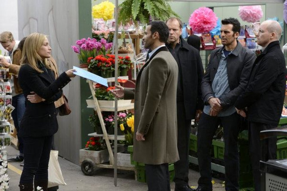 "Photo -  COVERT AFFAIRS -- ""Lady Stardust"" -- Episode 316 --Pictured: Annie Walker as Piper Perabo, Oded Fehr as Eyal Lavin -- (Photo by: Steve Wilkie/USA Network)"