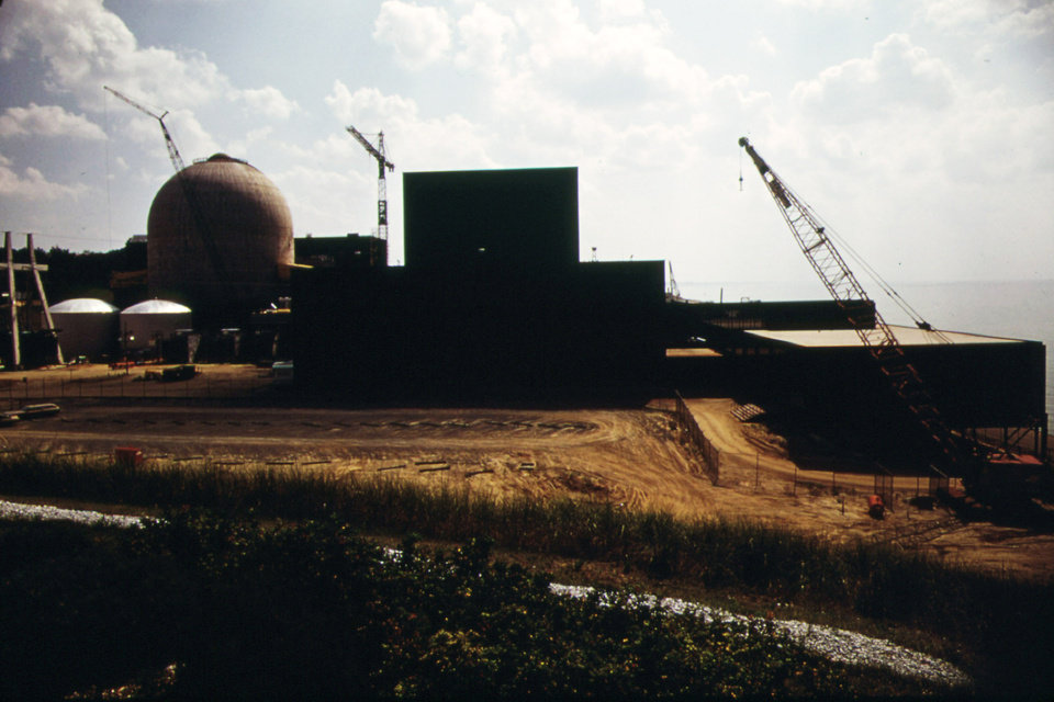 "This August 1973 photo released by the U.S. National Archives shows the Donald Cook Nuclear Power Plant still under construction on Lake Michigan at Bridgman, Mi. The photo was taken for the ""Documerica"" program, 1972-1977, instituted by the then new Environmental Protection Agency to document subjects of environmental concern. (AP Photo/U.S. National Archives, Paul Sequeira)"