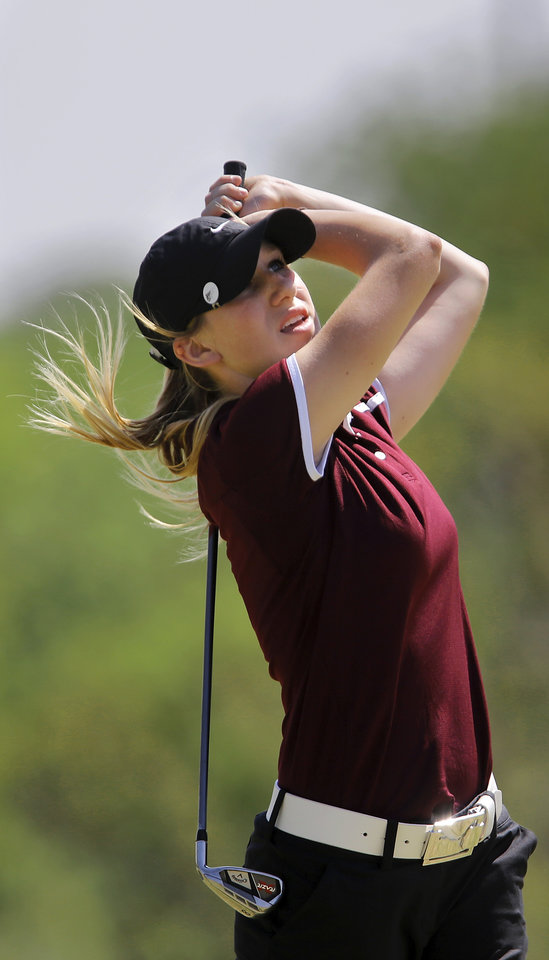 Photo - Brooklyn Bartling of Velma-Alma during the 2014 Class 2A girls' golf state championship tournament  Wednesday, May 7, 2014, at Trosper Golf Course in Del City.  Photo by Jim Beckel, The Oklahoman