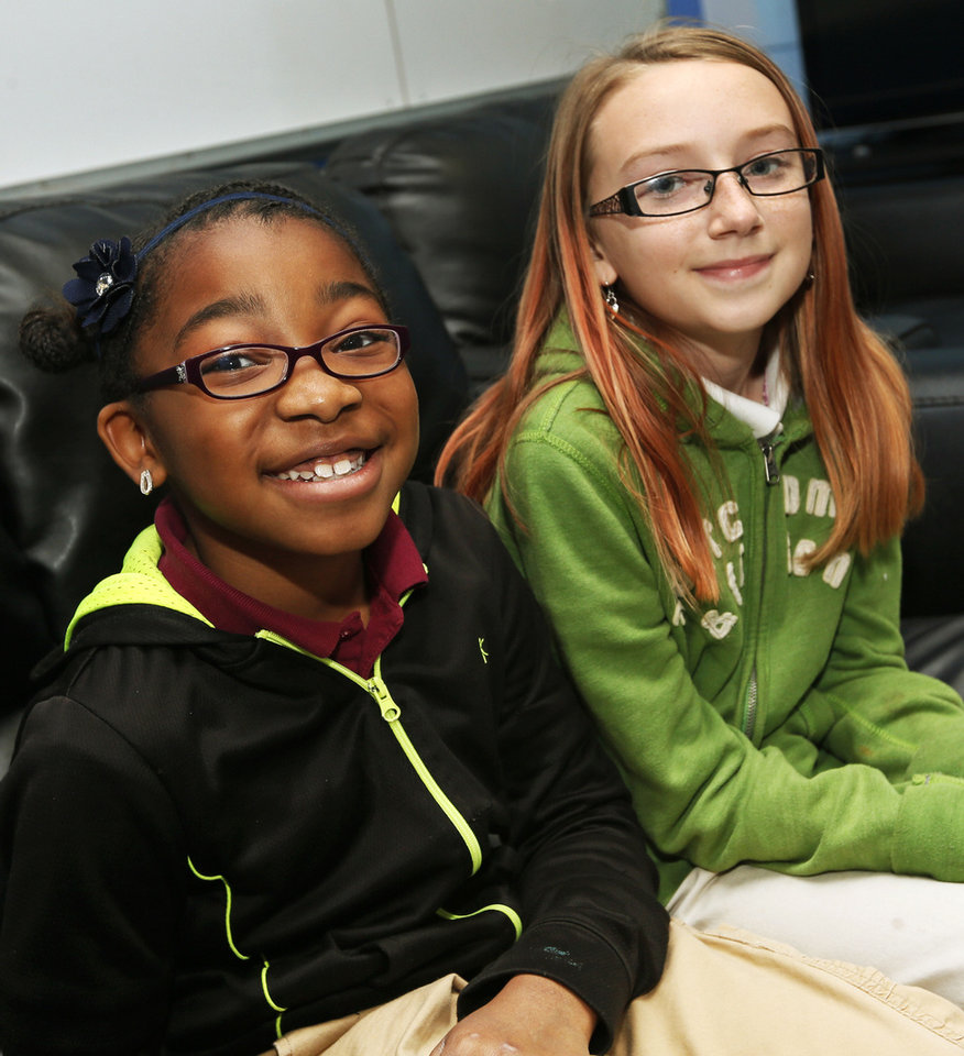 Iyana Freeman, left, and Skylar Huff are regional winners of a contest they entered through The Salvation Army Boys and Girls Club. Photo by Nate Billings, The Oklahoman <strong>NATE BILLINGS - NATE BILLINGS</strong>