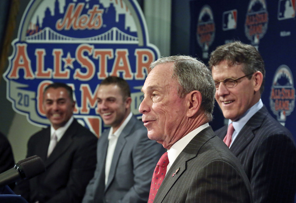 Photo - New York Mets Legend and Club Ambassador John Franco, left six-time All-Star New York third basebman Mets David Wright, second from left, Major League Baseball Executive Vice President Tim Brosnan, second from right, reacts as New York Mayor Michael Bloomberg speaks during a news conference to outline the festivities for baseball's All-Star game on Wednesday, April 24, 2013 in New York. The Mets are hosting the All-Star game on July 16. (AP Photo/Bebeto Matthews)