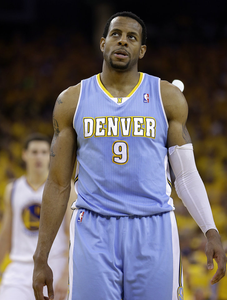 Denver Nuggets Andre Iguodala (9) walks off the court during the second half of Game 6 in a first-round NBA basketball playoff series against the Golden State Warriors on Thursday, May 2, 2013, in Oakland, Calif. (AP Photo/Ben Margot)