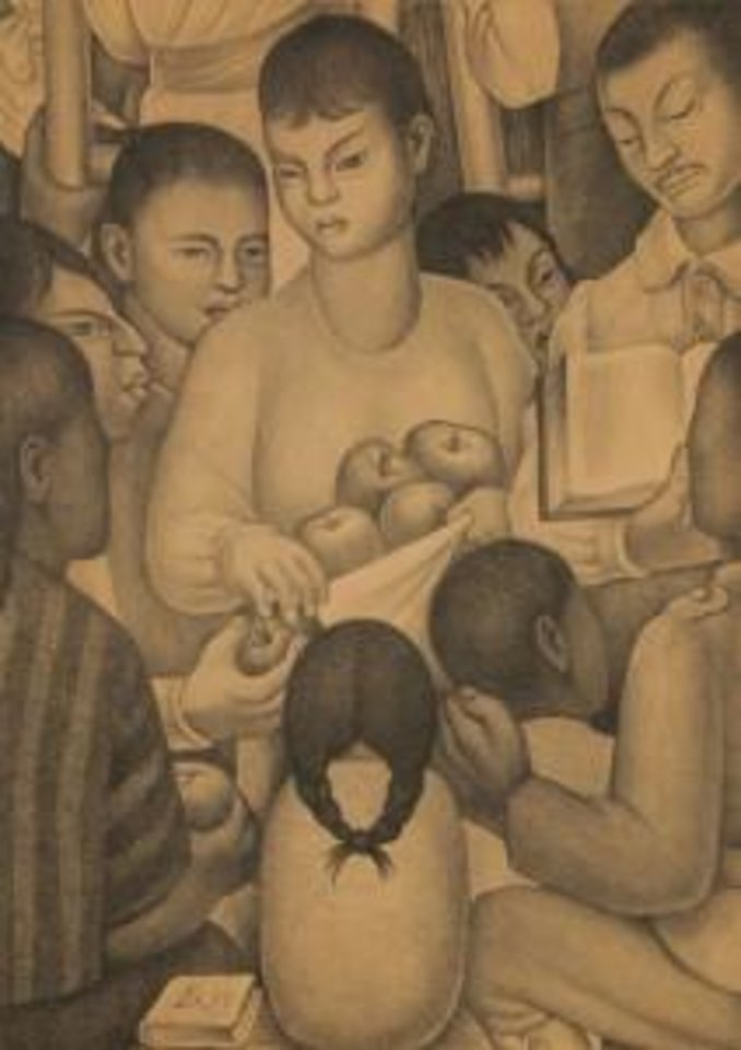 "Diego Rivera, La Maestra /""Los Frutos de la Escuela"" (Fruits of Labor), lithograph"