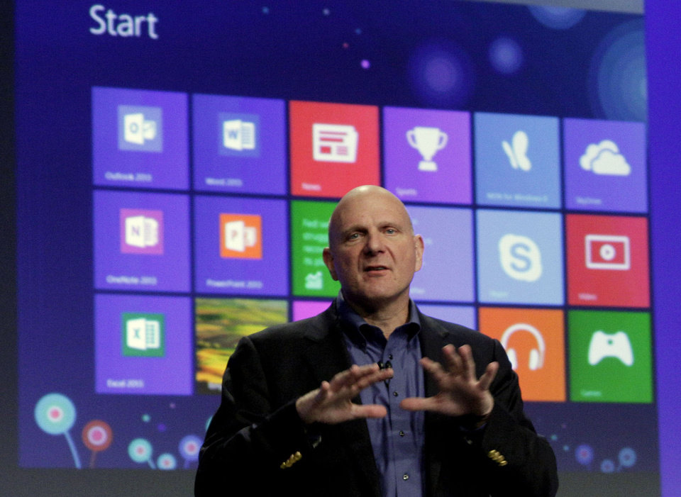 Photo -   Microsoft CEO Steve Ballmer gives his presentation at the launch of Microsoft Windows 8, in New York, Thursday, Oct. 25, 2012. Windows 8 is the most dramatic overhaul of the personal computer market's dominant operating system in 17 years. (AP Photo/Richard Drew)