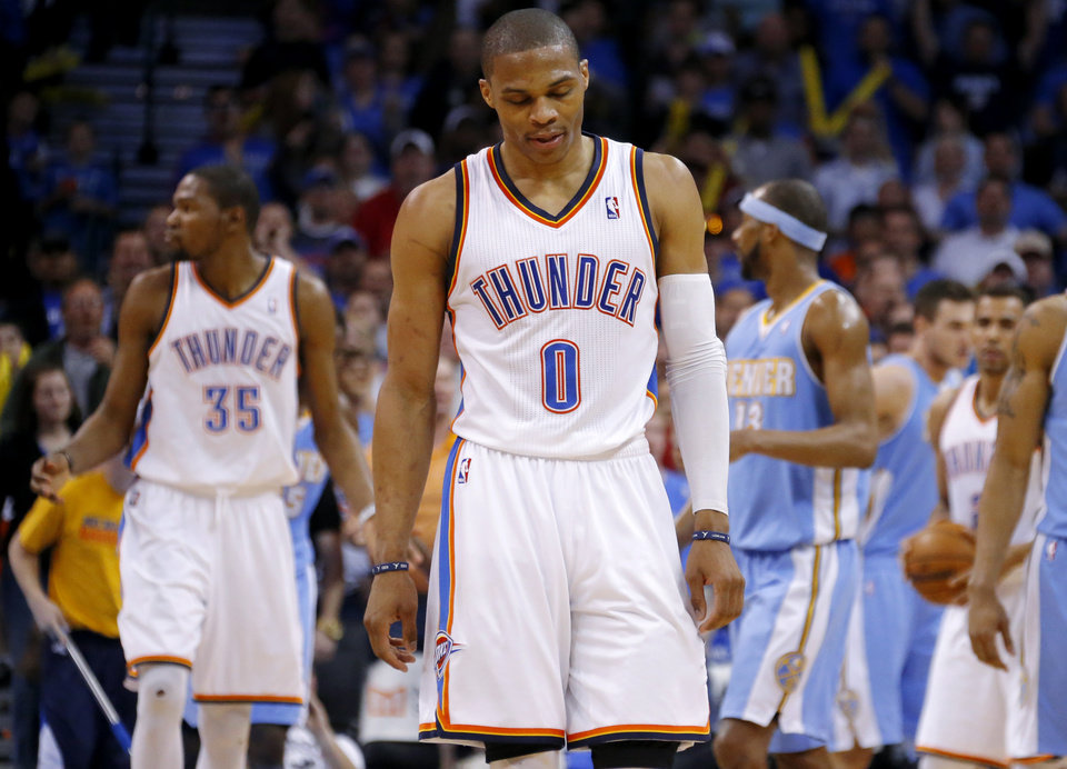 Oklahoma City's Russell Westbrook (0) reacts during an NBA basketball game between the Oklahoma City Thunder and the Denver Nuggets at Chesapeake Energy Arena in Oklahoma City, Tuesday, March 19, 2013. Denver won 114-104. Photo by Bryan Terry, The Oklahoman