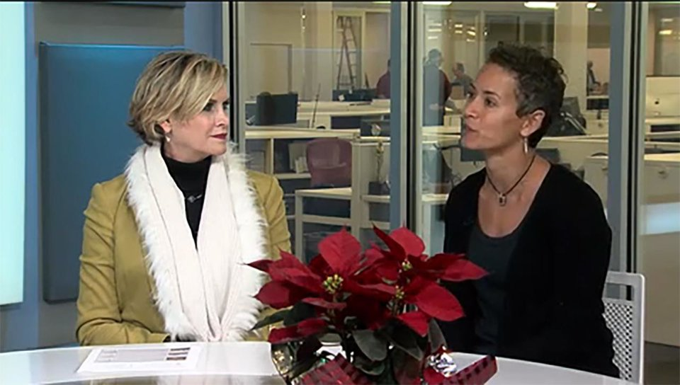 Photo - Mary Mélon, president/CEO of The Foundation for Oklahoma City Public Schools, and Melissa O'Neil, the Foundation's DonorsChoose.org liaison discuss the partnership and gift cards for the holidays.