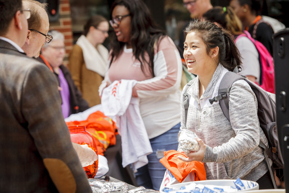 Photo - Students visiting for a campus tour can take advantage of different events and get a feel for campus life. OSU/Gary Lawson.