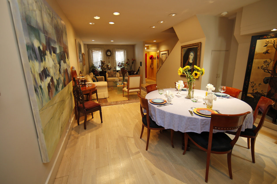 Photo - This is an interior view of a row house for sale listed at $995,000 in the Society Hill neighborhood of Philadelphia on Wednesday, July 30, 2014. The 3,200-square-foot home includes four bedrooms, three full and two partial bathrooms and a year of pre-paid garage parking. (AP Photo/Matt Slocum)