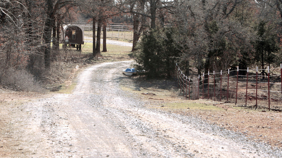 A long gravel drive leads to the Blanchard home of Sarah McKinley is shown Wednesday.  Photos by Steve Sisney, The Oklahoman