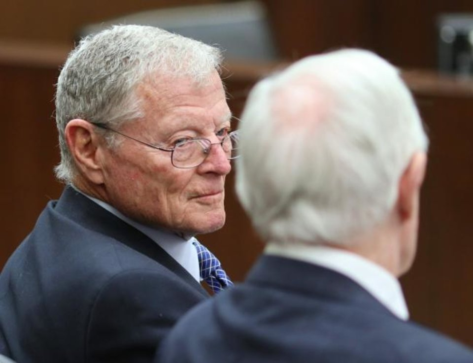 Photo -  Sen. James Inhofe talks with retired Judge Ralph Thompson at the naturalization ceremony at the District Court for the Western District of Oklahoma, Friday, February 28, 2020.  [Photo by Doug Hoke/The Oklahoman]