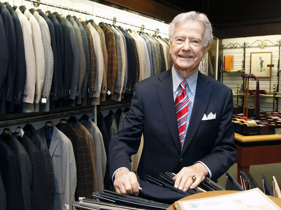 Photo - Hoot Gibson, who founded  McCall's men's store in downtown Edmond 60 years ago, still works there at age 90. Photo   By Paul Hellstern, The Oklahoman  PAUL HELLSTERN - Oklahoman