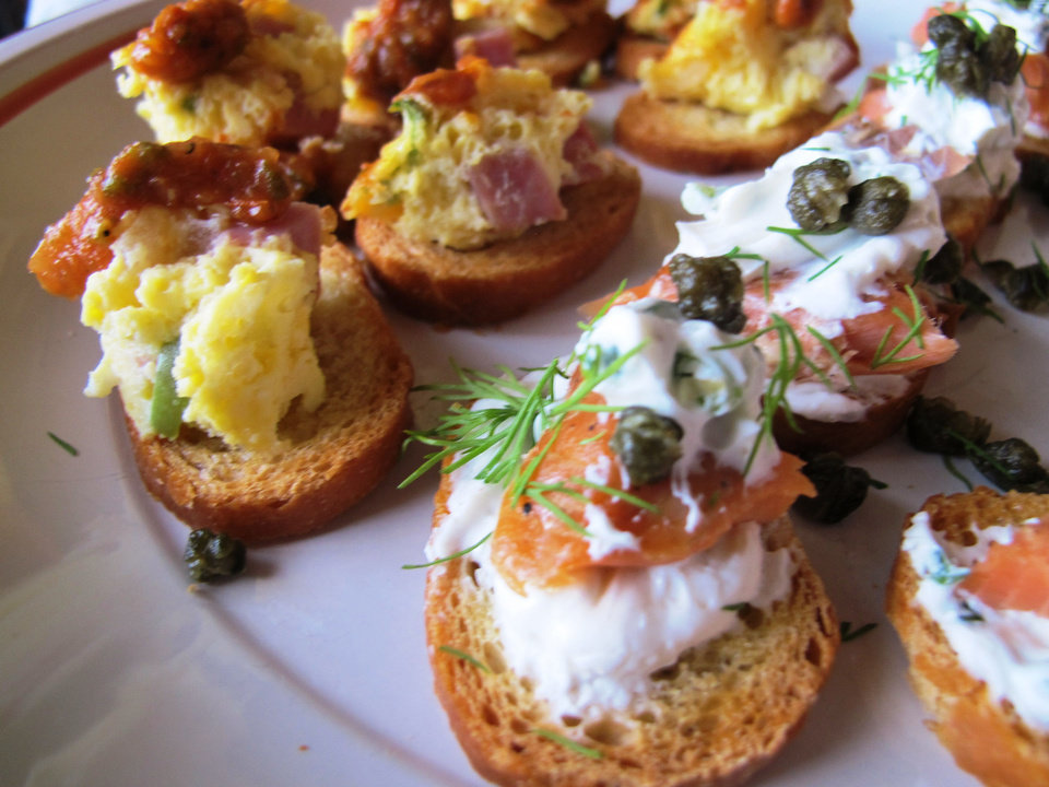 Photo - Denver Omelet Toast and Seattle Sea-Lox Toast are lined up for the Super Bowl, which  pits Seattle Seahawks and Denver's Broncos against each other in New York.  DAVE CATHEY - THE OKLAHOMAN