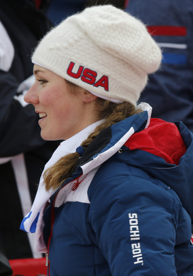 Photo - United States' Mikaela Shiffrin leaves after finishing the first run of the women's slalom at the Sochi 2014 Winter Olympics, Friday, Feb. 21, 2014, in Krasnaya Polyana, Russia.(AP Photo/Christophe Ena)
