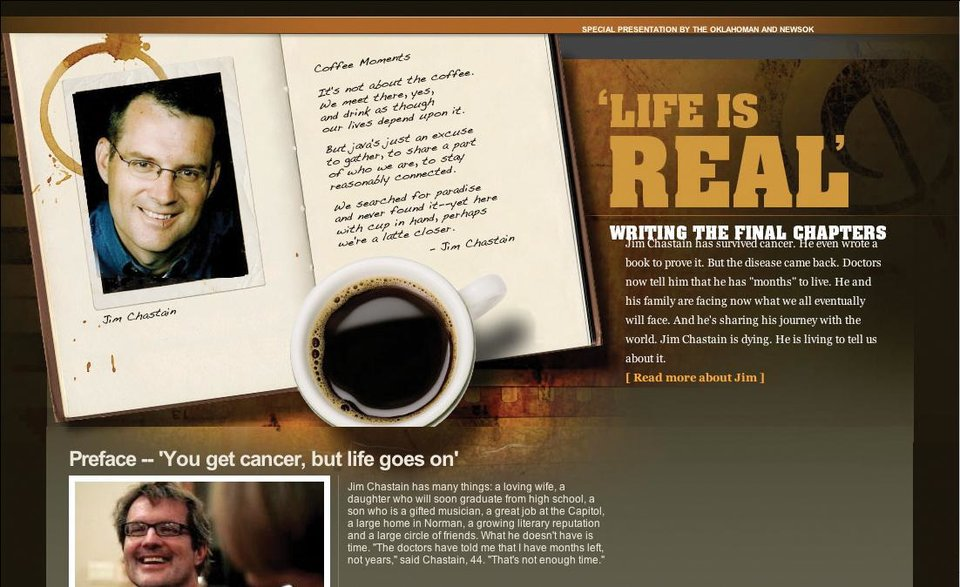 Photo - JIM CHASTAIN / LIFE IS REAL / WRITING THE FINAL CHAPTER / WEBSITE / WEB SITE / WEB PAGE / NEWSOK.COM/JIMCHASTAIN / CANCER / SCREEN SHOT