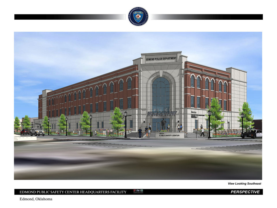 Photo - This architect's drawing shows final plans for Edmond's new public safety center. The plans were presented to the senior steering committee. City officials expect to go out for bids on May 20. Frankfurt Short Bruza architects project the building to be constructed downtown will be completed by May 1, 2015. DRAWING PROVIDED