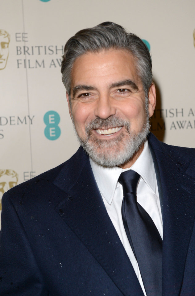 George Clooney arrives for the BAFTA Film Awards at the Royal Opera House on Sunday, Feb. 10, 2013, in London. (Photo by Jon Furniss/Invision/AP)