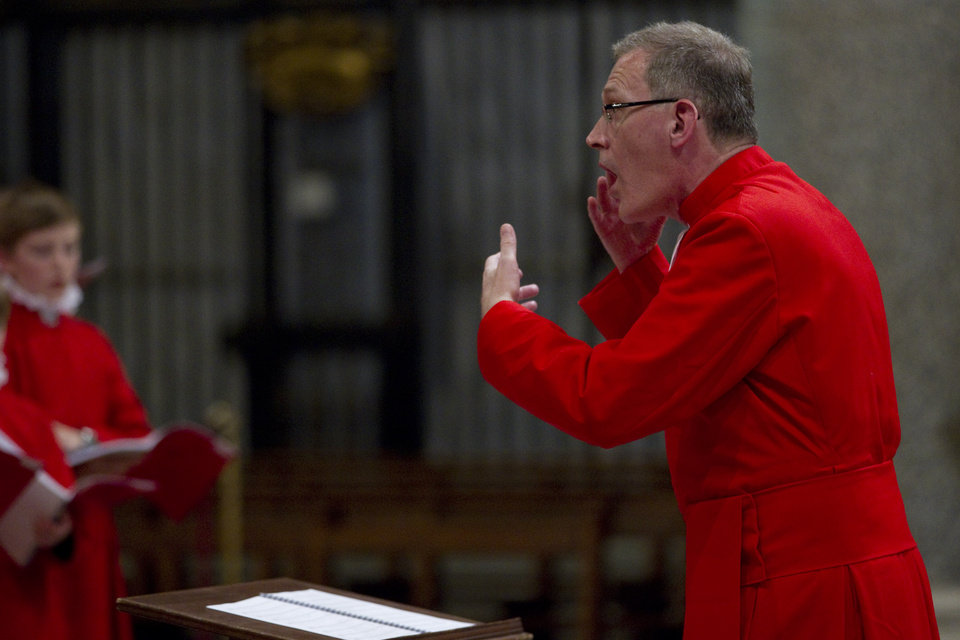 Photo -   James O'Donnel directs the Choir of the Westminster Abbey as they perform during a concert of Sacred Choral Music, in the St. Mary Major basilica, in Rome, Wednesday, June 27, 2012. The Westminster Abbey Choir, the world-renown chorus which last year performed at the wedding of Prince William and Kate Middleton, will join the Sistine singers at a special papal Mass on Friday in St. Peter's Basilica, a historic event seen as a perfect symbol of Christian harmony _ after centuries of discord. It's the first time in its 500-plus year history that the pope's personal choir will be accompanied by another chorus, let alone one that comes from the breakaway Anglican Church. (AP Photo/Andrew Medichini)