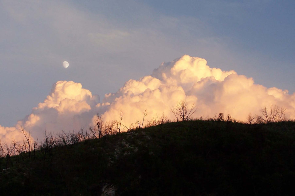 Moon rising with the clouds at sunset near Turner Falls.<br/><b>Community Photo By:</b> Cindi Tennison<br/><b>Submitted By:</b> Cindi , Bethany