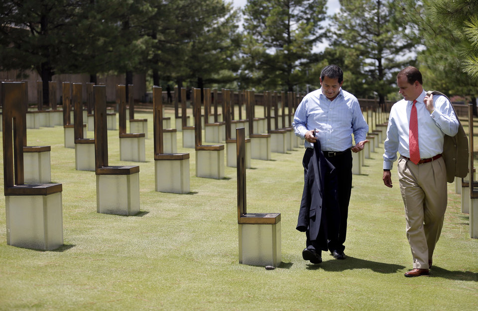 Photo - Lt. Gov. John A. Sanchez, of New Mexico, and Oklahoma Lt. Gov. Todd Lamb tour the Oklahoma City National Memorial & Museum on Thursday in Oklahoma City. Photo by Sarah Phipps, The Oklahoman  SARAH PHIPPS