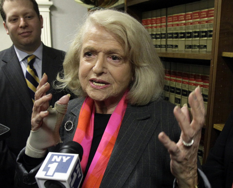 FILE - This Oct. 18, 2012 file photo shows Edith Windsor interviewed at the offices of the New York Civil Liberties Union, in New York. The fight over gay marriage is shifting from the ballot box to the Supreme Court. Three weeks after voters in three states backed it, the justices meet Friday to decide whether they should deal sooner rather than later with the idea that the Constitution gives people the right to marry regardless of a couple's sexual orientation. (AP Photo/Richard Drew, File)