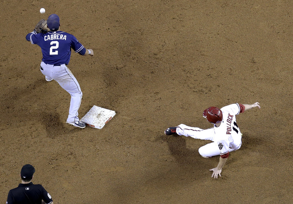 Photo - Arizona Diamondbacks' A.J. Pollock slides into second on a fly out by Gerardo Parra as San Diego Padres Everth Cabrera (2) waits for the throw during the third inning of a baseball game, Tuesday, May 27, 2014, in Phoenix. (AP Photo/Matt York)