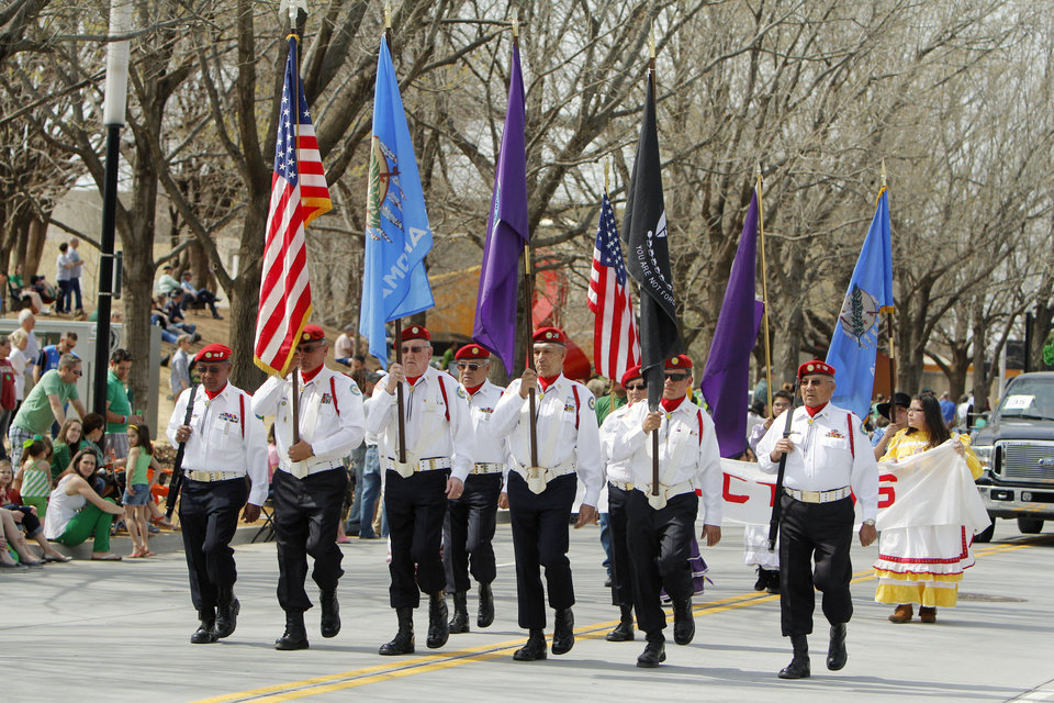 The Choctaw Nation Honor Guard marched in the annual Saint Patrick's Day Parade in downtown Oklahoma City, OK, Saturday, March 16, 2013,  By Paul Hellstern, The Oklahoman