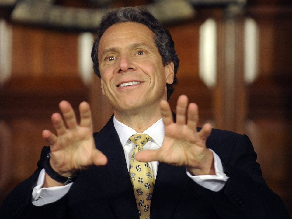 FILE - In this June 4, 2012, file photo, New York Gov. Andrew Cuomo speaks during a news conference at the Capitol in Albany, N.Y. Relieved to see the long, costly 2012 presidential race end? The 2016 campaign is closer than you think. In some subtle ways, the jockeying to succeed Barack Obama or Mitt Romney already has begun. Democrats know they'll need a new standard bearer regardless of whether Obama is re-elected, and there are plenty of possibilities _ from Hillary Rodham Clinton to Cuomo. (AP Photo/Tim Roske, File)