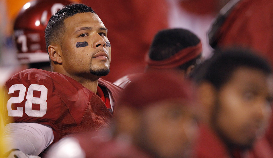 Oklahoma's Travis Lewis (28) looks on from the bench during the Sooners' 41-38 loss during the college football game between the University of Oklahoma Sooners (OU) and Texas Tech University Red Raiders (TTU) at the Gaylord Family-Oklahoma Memorial Stadium on Sunday, Oct. 23, 2011. in Norman, Okla. Photo by Chris Landsberger, The Oklahoman