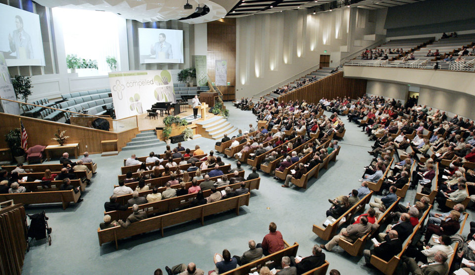 People listen to guest speakers at the 2007 Baptist General Convention of Oklahoma State Evangelism Conference at First Baptist Church of Edmond. The 2013 event is set for Southern Hills Baptist Church in Oklahoma City.  <strong>Jaconna Aguirre - The Oklahoman</strong>