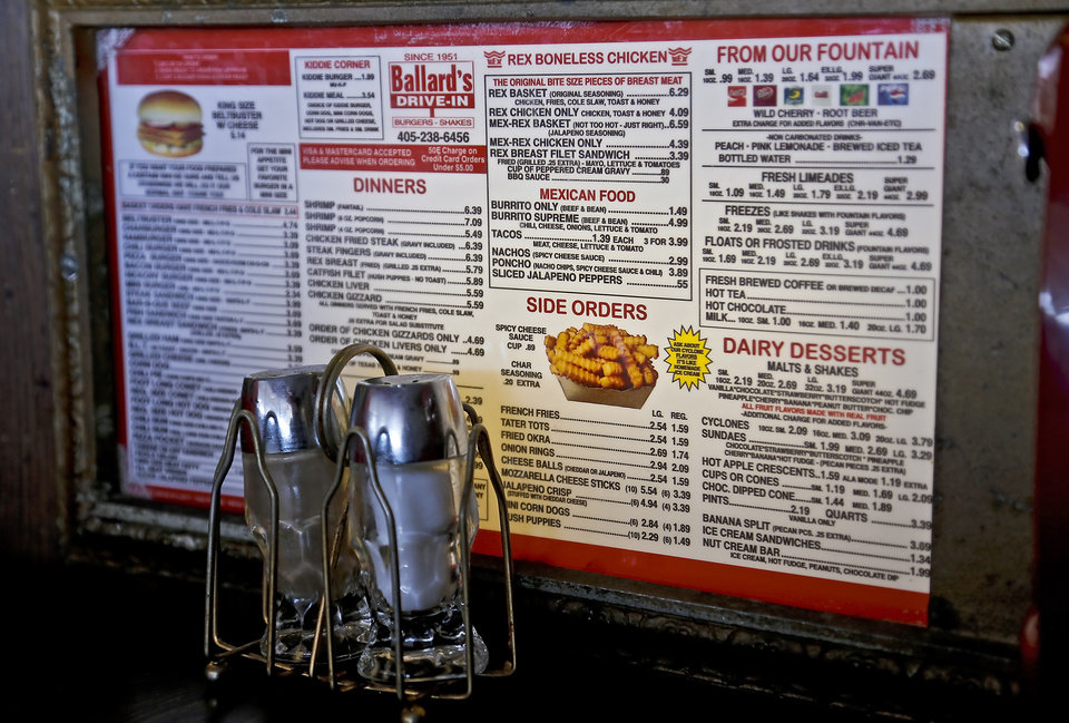 The classic menu located table side at Ballard's Drive-In located in Pauls Valley, Okla. Monday, July 16, 2012.   Photo by Chris Landsberger, The Oklahoman