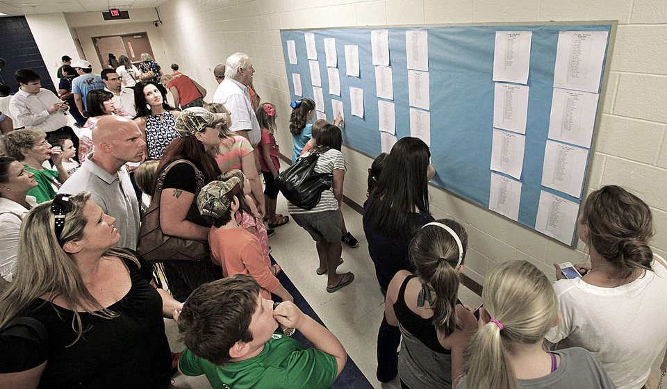 Photo - Students and parents look for  names on the class lists during back-to-school night at Cleveland Elementary School in Norman, Monday , August 19, 2013. Photo by David McDaniel, The Oklahoman