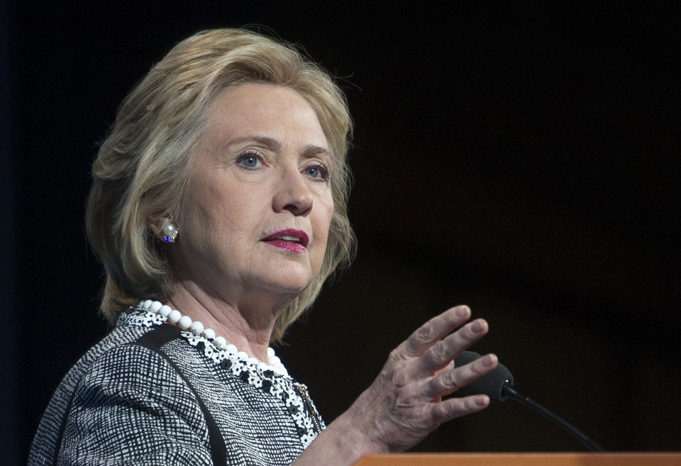 Photo - FILE - This May 14, 2014, file photo shows former Secretary of State Hillary Rodham Clinton speaking in Washington. Clinton says she feels emboldened to run for president because of Republican criticism of her handling of the deadly 2012 terrorist attacks in Benghazi, Libya. Clinton says in an interview with ABC News airing June 9 that she remains undecided about another campaign in 2016. But she says the GOP-led Benghazi inquiry is