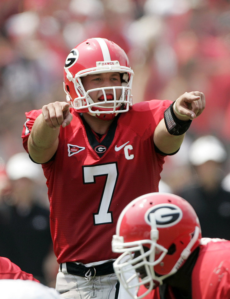 Photo - ** FILE **  University of Georgia quarterback Matthew Stafford sets the offense during the first half of a college football game against Georgia Southern Saturday, Sept. 1, 2008,  in Athens, Ga.  (AP Photo/John Bazemore) ORG XMIT: GAJB101