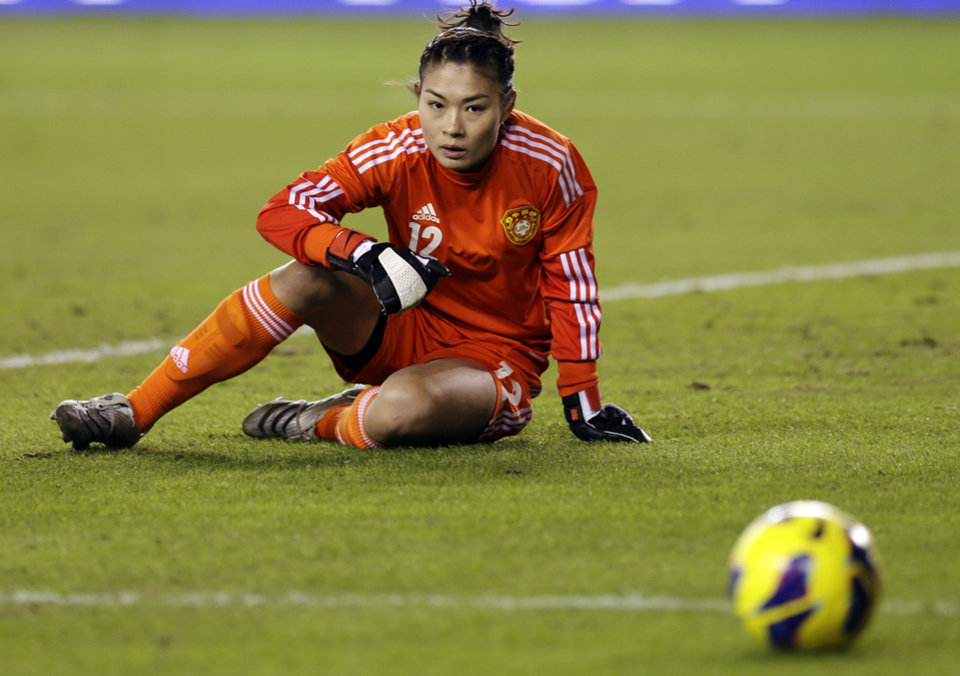 China goalie Wang Fei reacts after deflecting a shot during the first half of an exhibition soccer match against United States, Wednesday, Dec. 12, 2012, in Houston. (AP Photo/David J. Phillip)