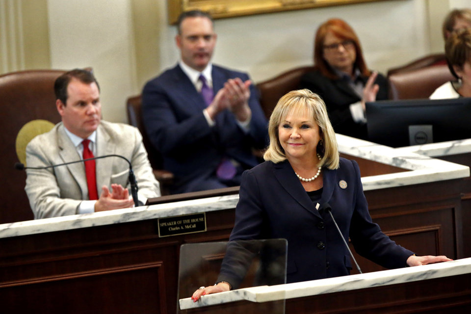 Photo - Oklahoma Governor Mary Fallin gives her final State of the State Address in the House Chambers of the Oklahoma House of Representative on Monday, Feb. 5, 2018 in Oklahoma City, Okla.  Photo by Steve Sisney, The Oklahoman